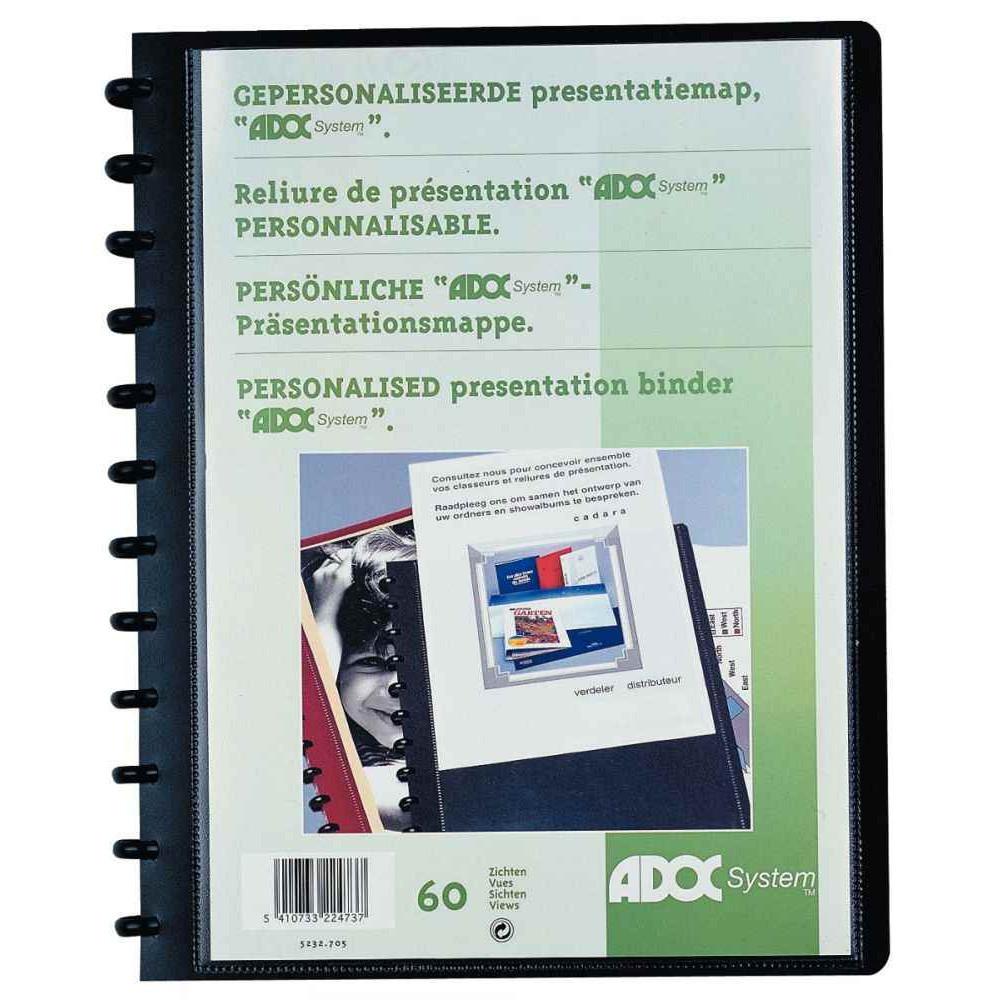 PROTÈGE-DOCUMENTS PERSONNALISABLE ADOC BIND-EX 30 POCHETTES 60 VUES FORMAT A4 COUVERTURE EN POLYPROPYLÈNE 8/10ÈME COLORIS NOIR