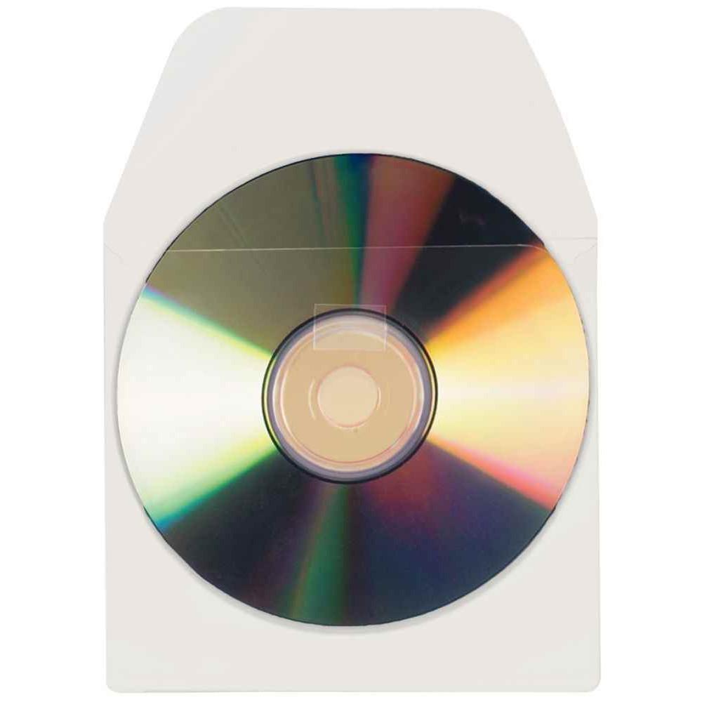 BLISTER DE 10 POCHETTES ADHÉRSIVES POUR CD/DVD AVEC RABAT