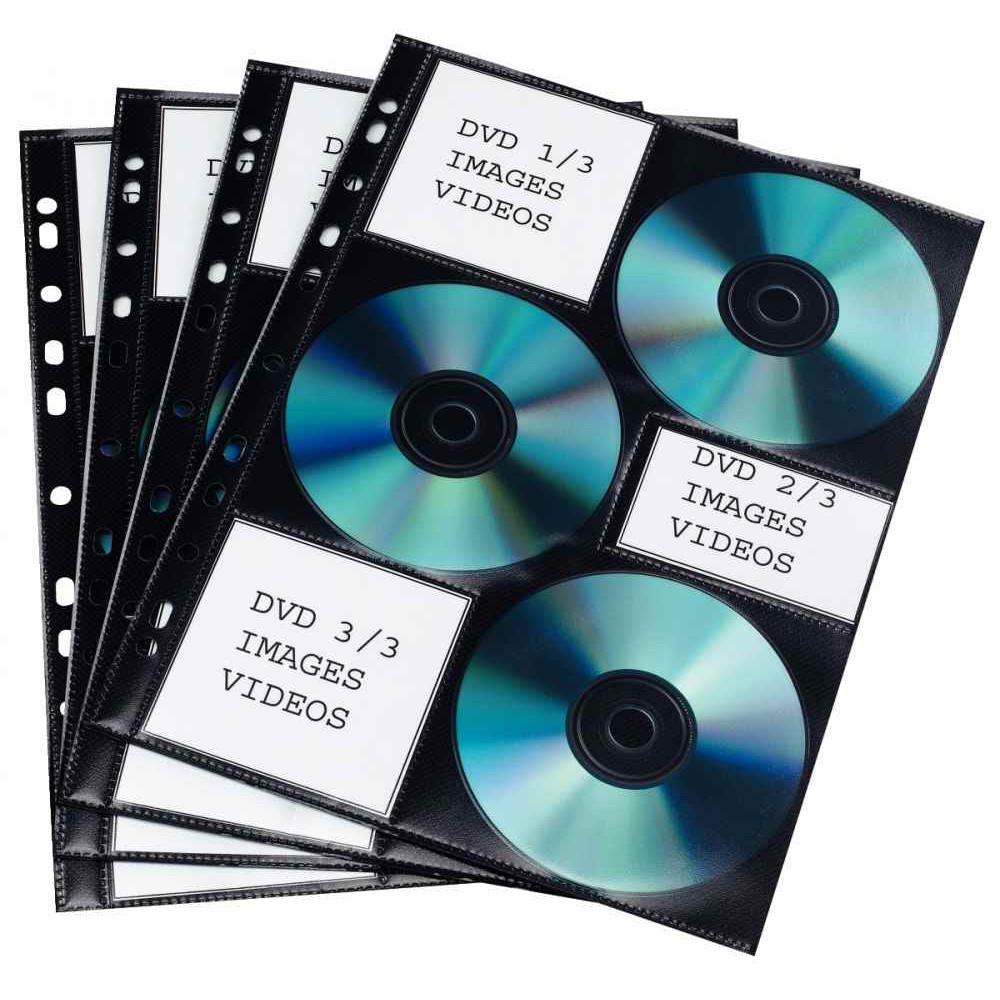 PAQUET DE 10 POCHETTES PERFORÉES POUR 6 CD MATIÈRE NON TISSÉE