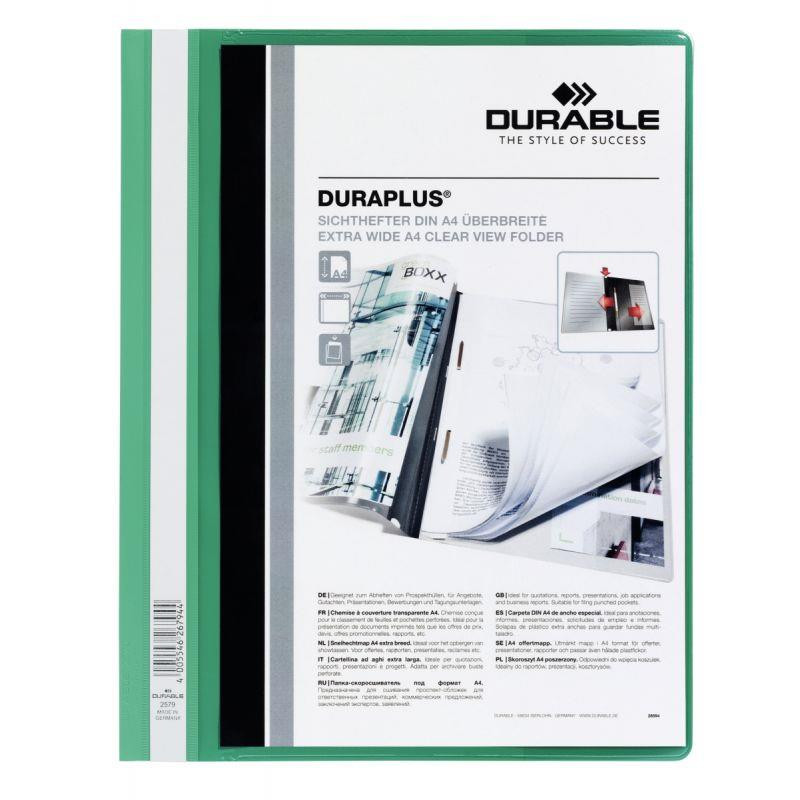 CHEMISE PERSONNALISABLE À LAMELLE DURAPLUS FORMAT A4 : 21X29,7CM   VERT