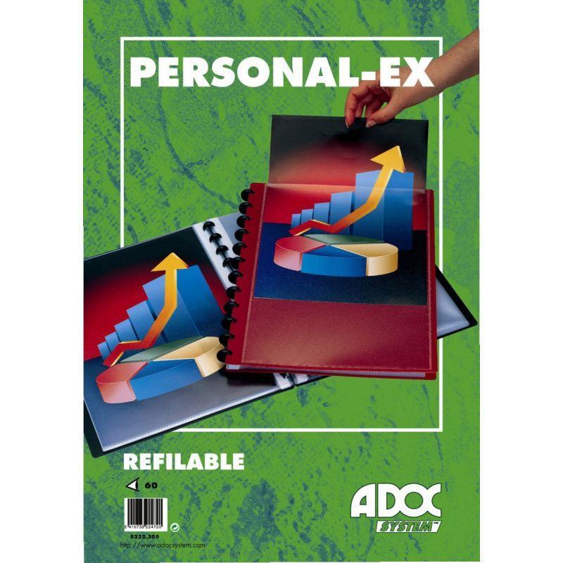 PROTÈGE-DOCUMENTS PERSONNALISABLE ADOC BIND-EX 30 POCHETTES 60 VUES FORMAT A4 COUVERTURE EN POLYPROPYLÈNE 8/10ÈME COLORIS BORDEAUX